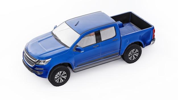 흰색 바탕에 파란색 픽업 자동차입니다. 3d 렌더링.