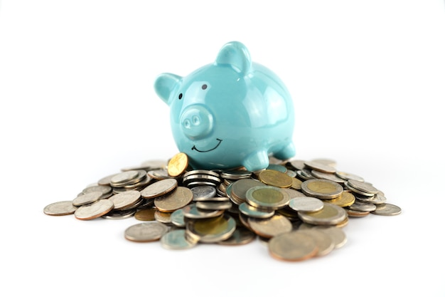 Blue piggy bank on coin background for saving money business concept