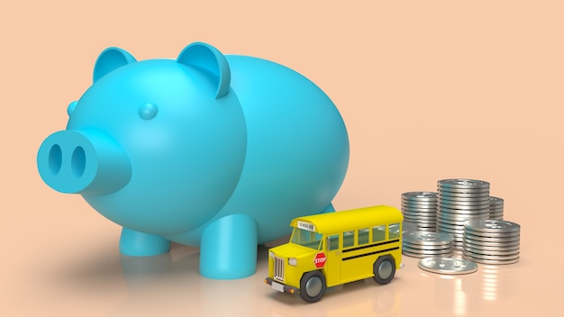 The blue piggy bank  and school bus for money plan to education concept 3d rendering