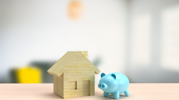 The blue piggy bank and wood house  for real estate or home savings  concept 3d rendering
