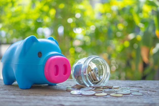 Blue piggy bank on wooden table over blurred garden bokeh background.