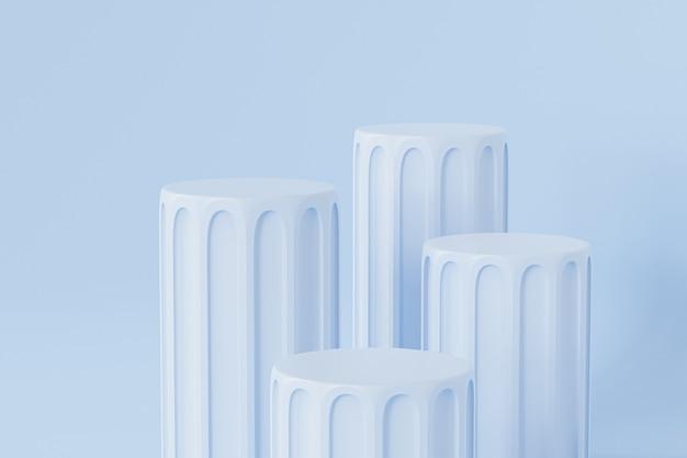 広告のための青い柱の表彰台