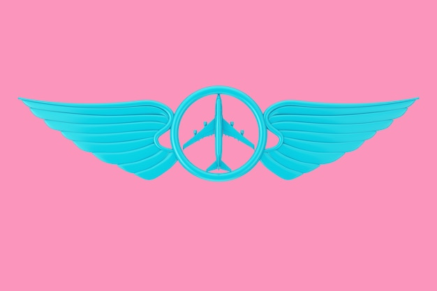 Blue pilot wing emblem, badge or logo symbol in duotone style on a pink background. 3d rendering