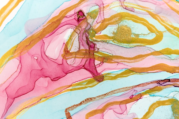 Blue and pink abstract stains with golden stripes. watercolor marble imitation.