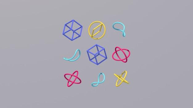 青、ピンク、黄色の形。抽象的なイラスト、3dレンダリング。