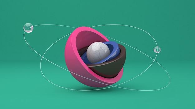 Blue, pink, brown hemispheres