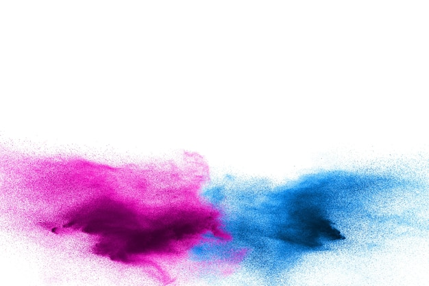 Blue and pink color particles splash on white background.