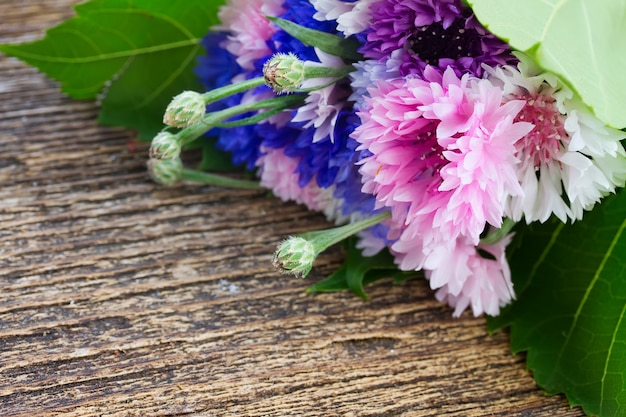 Blue and pink  cornflowers on wooden table