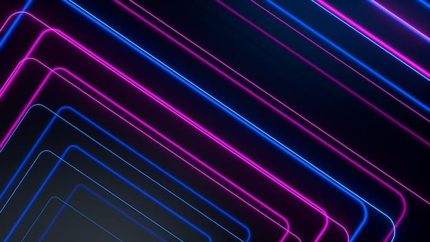 ブルーピンクの輝くネオンラインは、ハイテクの未来的な動きを抽象化します