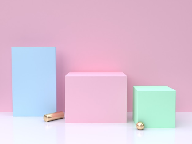 Blue pink green minimal abstract background 3d render