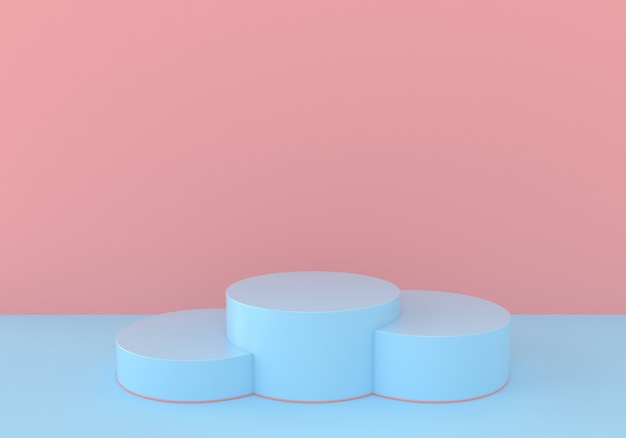 Blue and pink minimal pastel podiums or stage for product placement
