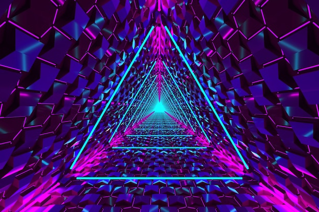 Blue pink neon triangle portal abstract background