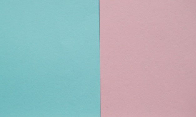 Blue and pink pastel color paper geometric flat lay two backgrounds side by side