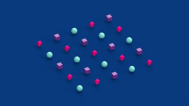 青、ピンク、紫の幾何学的形状。抽象的なイラスト、3dレンダリング。