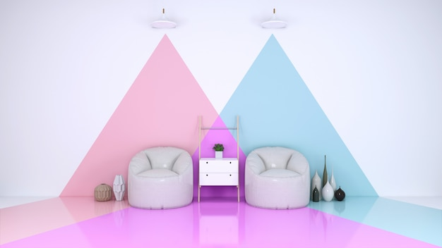 Blue and pink room