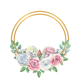 Blue and pink roses flowers, green leaves, berries in a gold round frame
