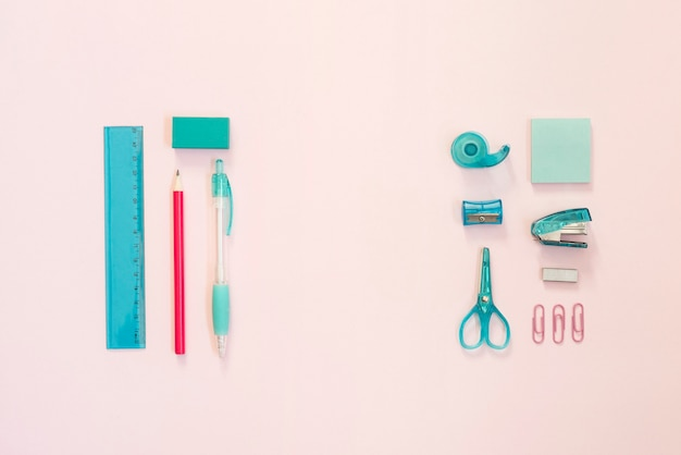 Blue and pink school supplies