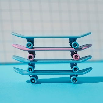 Blue and pink skateboards assortment