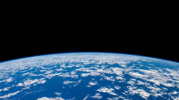 Голубая планета земля и черный космос. элементы этого изображения, представленные наса 3d иллюстрации.