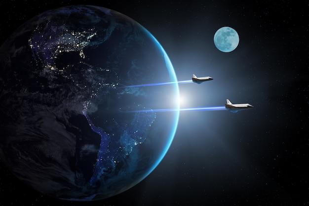 Голубая планета земля и космические шаттлы взлетают на миссию
