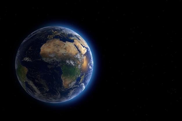 Голубая планета земля глобус вид из космоса крайнего крупного плана. элементы этого изображения предоставлены наса. 3d-рендеринг.