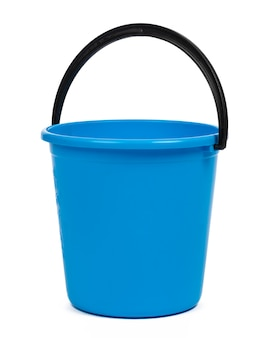 Blue plastic bucket for cleaning isolated