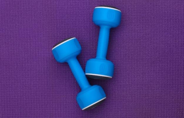 紫色の背景に青いプラスチック製のダンベル。上面図