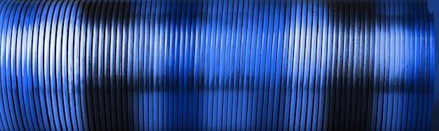 Blue plastic spiral, panoramic image