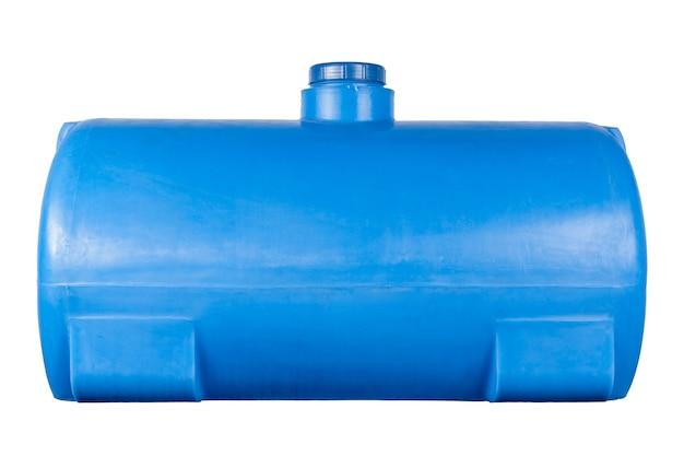 白い背景で隔離の青いプラスチック製の水タンク