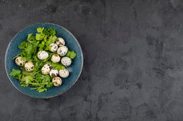 Blue plate of fresh raw quail eggs and parsley leaves on black background.