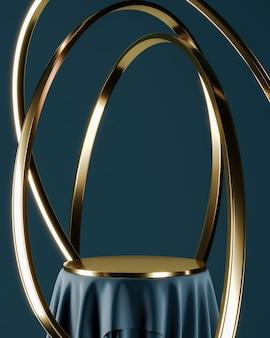 파란색 연단과 금색 상판, 떠 있는 금색 링. 제품 프레 젠 테이 션 또는 광고에 대 한 추상적 인 배경입니다. 3d 렌더링