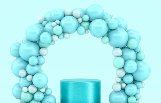 Blue podium backdrop for product display with balloons arch.