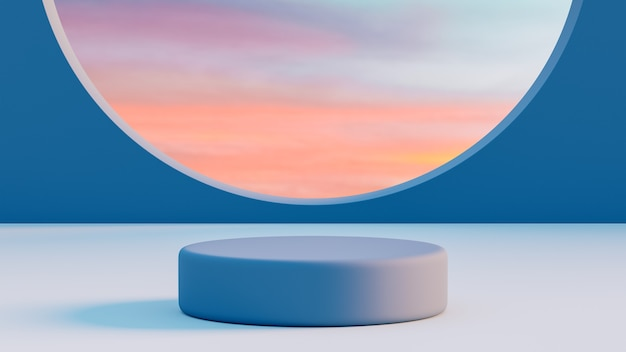 흐린 하늘이있는 제품 배치를위한 파란색 연단