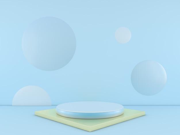 제품에 대 한 파란색 배경에 최소한의 파란색 연단. 3d 렌더링