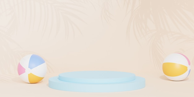 Blue podium or pedestal for products or advertising on tropical beige background with beach balls, 3d render