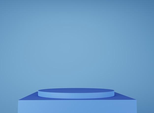 青い表彰台。製品ショーケース。 3dレンダリング