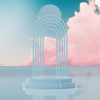 제품 배치 3d 렌더링을 위한 파란색 연단 무대 스탠드 분홍색 구름 하늘