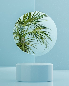 Blue podium stage stand on tropical trees background for product placement 3d render