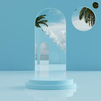 제품 배치 3d 렌더를 위한 열대 나무 배경이 있는 파란색 연단 스탠드 바다 푸른 하늘