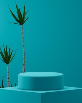 열 대 나무와 파란색 배경에 파란색 연단 3d 렌더링