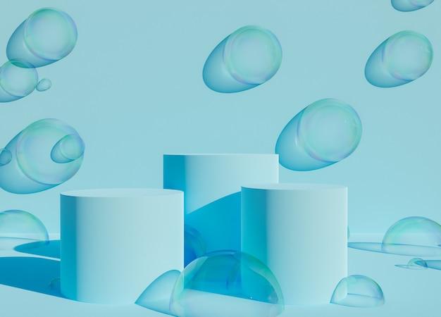 비누 거품이 있는 파란색 연단