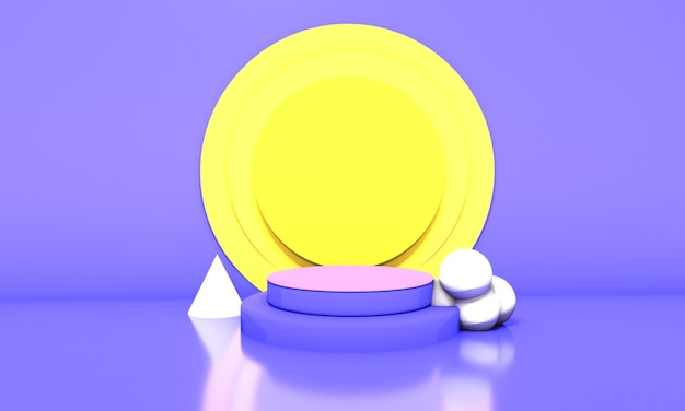 Blue podium in yellow circles background. 3d illustration.