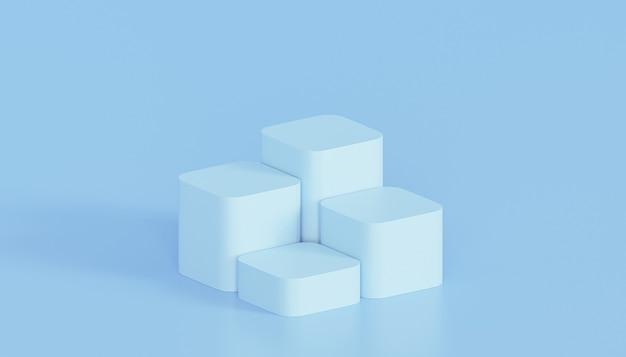 Синие подиумы или пьедесталы для отображения продуктов или рекламы на минимальном фоне, 3d визуализация