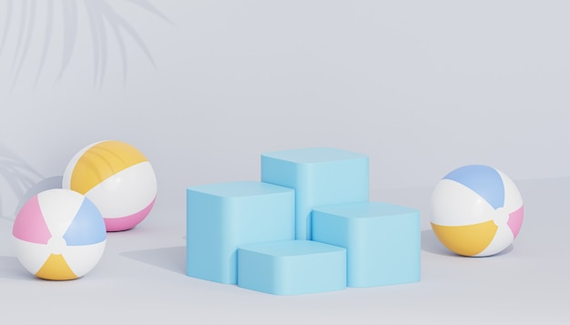 Blue podiums or pedestals for products or advertising on tropical background with beach balls, 3d render