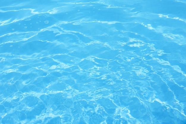 青いプールの水の波紋。背景の質感