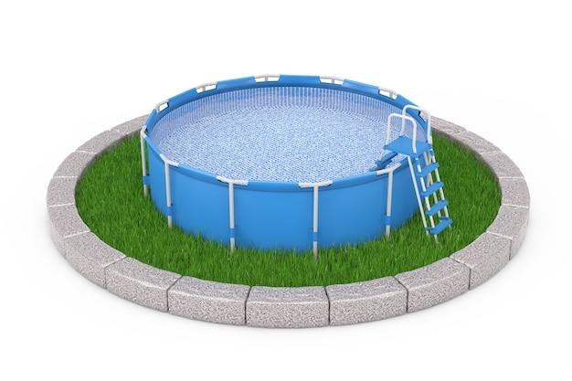 Синий портативный открытый круглый плавательный бассейн с лестницей над круглым участком густой зеленой травы на белом фоне. 3d рендеринг