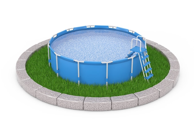 Blue portable outdoor round swimming water pool with ladder over round plot of dense green grass on a white background. 3d rendering