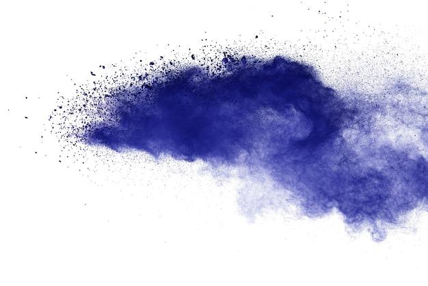 白で分離された青い粉塵爆発