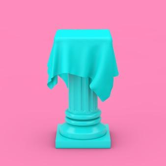 분홍색 배경에 이중톤 스타일의 실크 천이 있는 파란색 프레젠테이션 열 받침대. 3d 렌더링