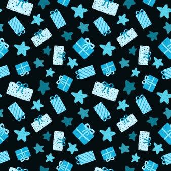 青いプレゼントと黒の背景に星のシームレスなパターン手描きギフトボックスリピートプリント